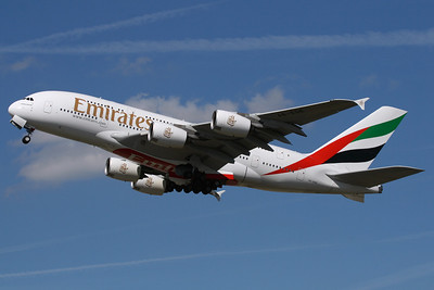 """A6-EDE - Emirates Airline, Airbus A.380-861 (c/n 017)  Operating """"Emirates 2"""" back to Dubai, seen on take-off from runway 27L at London-Heathrow. 23 August 2009  Photo ID: 1200020"""