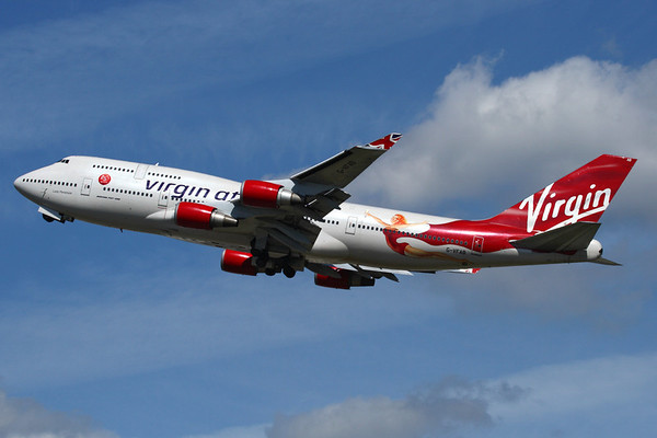 Reg: G-VFAB Operator: Virgin Atlantic Airways Type:  Boeing 747-4Q8 C/n: 24958 / 1028   Virgin painted Lady Penelope in a special scheme to celebrate their 25th birthday, seen here departing Heathrow.     Photo Date: 23 August 2009 Photo ID: 1200448