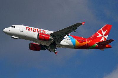 """Reg: 9H-AEM Operator: Air Malta  Type:  Airbus A.319-111 C/n: 2382 Location:  London - Heathrow (LHR / EGLL) - UK   """"Air Malta 101"""" climbs away from runway 27L headed back to Luqa - looking great in the airline's new 2012 colour scheme.     Photo Date: 14 March 2013 Photo ID: 1300615"""