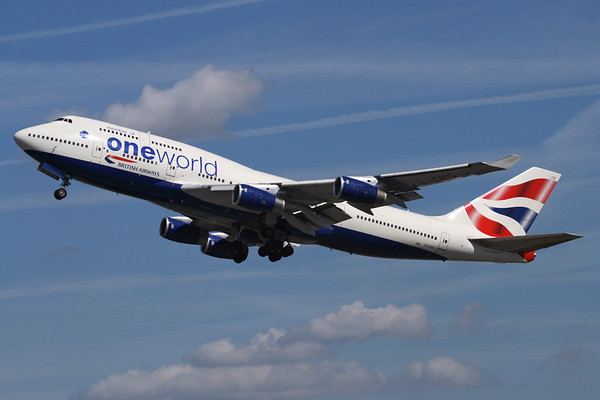 """Reg: G-CIVC Operator: British Airways Type:  Boeing 747-436 C/n: 25812 / 1022   Wearing the OneWorld billboard titles, """"Speedbird 285"""" is seen departing its home base of London-Heathrow at the start of a scheduled service to San Francisco.      Photo Date: 23 August 2009 Photo ID: 1200447"""
