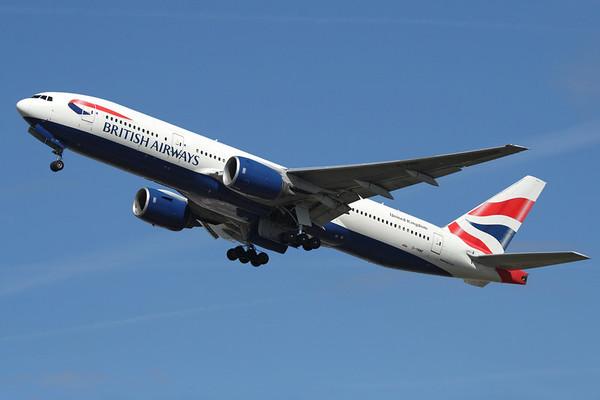 Reg: G-YMMF Operator: British Airways Type:  Boeing 777-236ER C/n: 30307 / 281 Location:  London - Heathrow (LHR / EGLL), UK        Photo Date: 23 August 2008 Photo ID: 1300752