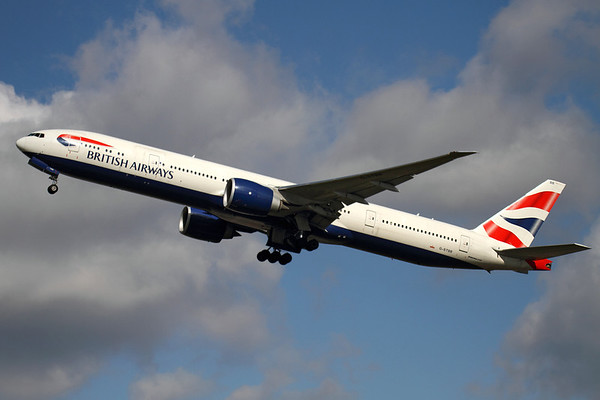 """Reg: G-STBB Operator: British Airways  Type:  Boeing 777-336ER C/n: 38286 / 887 Location:  London - Heathrow (LHR / EGLL) - UK   """"Speedbird 13K"""" climbs away from runway 27L at its home base, bound for New York JFK. British Airways operate six of the 777-300ER variant, with more on order.     Photo Date: 14 March 2013 Photo ID: 1300613"""
