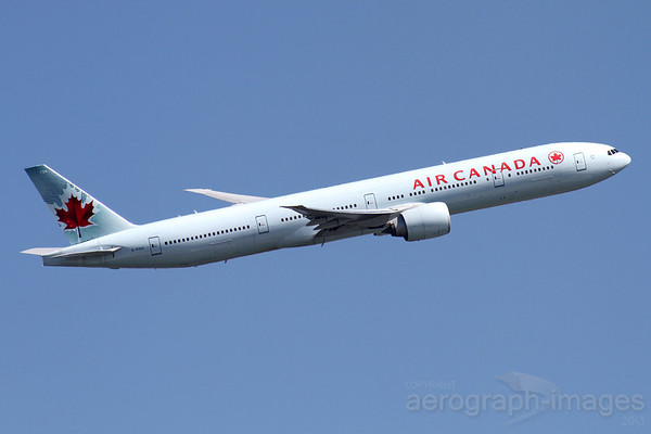 Reg: C-FIUL Operator: Air Canada Type:  Boeing 777-333ER C/n: 35255 / 642 Location:  London - Heathrow (LHR / EGLL) - UK   In a shallow right bank after take-off from 09L on a very hot summer's day     Photo Date: 19 July 2013 Photo ID: 1300763