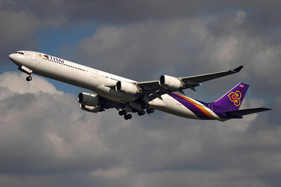 Reg: HS-TNE Operator: Thai Airways International  Type:  Airbus A.340-642		   C/n: 719 Location:  London - Heathrow (LHR / EGLL) - UK   Climbing out from 27L at Heathrow, Thai now operate the A340-600 on both of their twice daily Bangkok services from London     Photo Date: 14 March 2013 Photo ID: 1300616