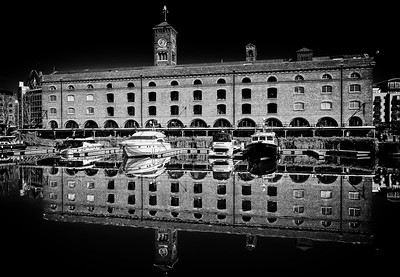 St Katherine's Dock Reflections B&W