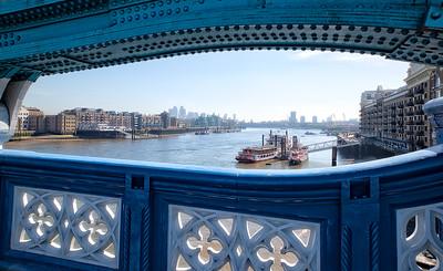 Tower Bridge View Toward Canary Wharf London