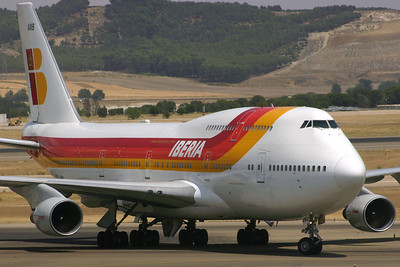 TF-AMB - Iberia, Boeing 747-412 (c/n 24065 l/n 761)  Iberia operated a pair of 747-400s during the mid-2000s, leased from Air Atlanta Icelandic. Here a former Singapore Airlines aircraft turns onto the main apron at Madrid after a flight from South America. 09 July 2007