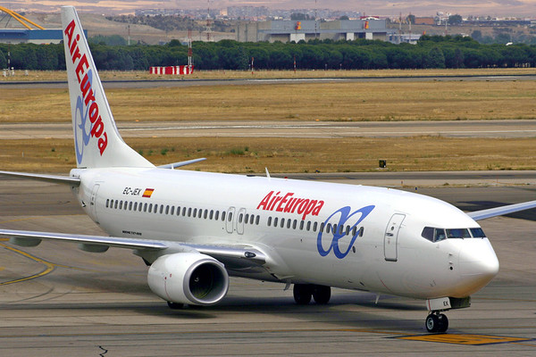 Reg: EC-JEX Operator: Air Europa Type:  Boeing 737-86N		   C/n: 32659 / 1709   Arriving on stand at Madrid-Barajas airport, this 737 left the Air Europa fleet in 2009 and now flies for Garuda Indonesia.     Photo Date: 08 July 2005 Photo ID: 1200396