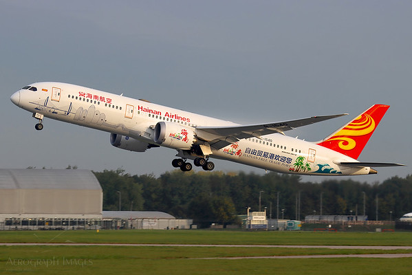"Reg: B-1540 Operator: Hainan Airlines Type: Boeing 787-9		    C/n: 62715/ 473  Location: Manchester (MAN / EGCC) - UK   ""CHH7954"" departing Manchester's runway 23R on an early autumn morning, returning to Chongqing. Formerly in one of the Kung Fu Panda schemes, this Dreamliner now wears a ""Hainan Free Trade Port"" special livery.     Photo Date: 28 September 2020 Photo ID: 20...."