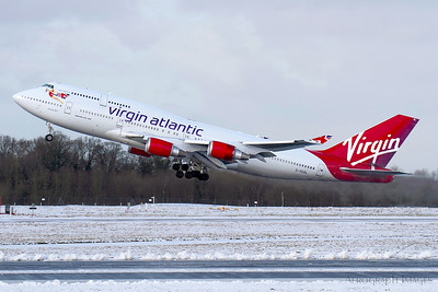 "Reg: G-VGAL Operator: Virgin Atlantic Airways Type: Boeing 747-443		    C/n: 32337/1272  Location: Manchester (MAN / EGCC) - UK   ""Jersey Girl"" blasts off 23R for warmer climes - sadly, a sight no longer to be seen     Photo Date: 30January 2015 Photo ID: 20...."