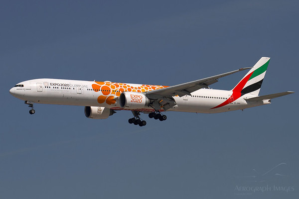 Reg: A6-ENG Operator: Emirates Airline Type: Boeing 777-31HER  C/n: 35604 / 1076  Location: Manchester (MAN / EGCC) - UK   Emirates resumed limited operations into MAN in late May, with a 777-300ER replacing the A380 on a single flight on selected days.  Here 'NG is seen wearing the orange EXPO 2020 special livery     Photo Date: 28 May 2020 Photo ID: 20....