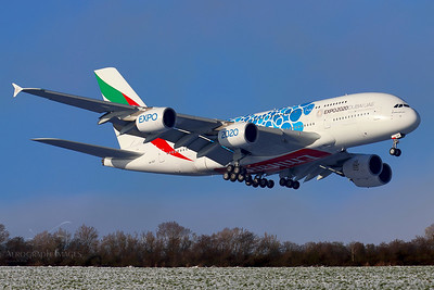 """Reg: A6-EOT Operator: Emirates Airline Type: Airbus A.380-861  C/n: 204  Location: Manchester (MAN / EGCC) - UK   """"Emirates 17 Super"""" over the fence for runway 05L on a cold winter's morning, recent snow still lying on the fields      Photo Date: 03 January 2021 Photo ID: 21...."""