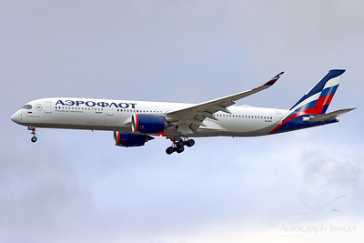 """Reg: VQ-BFY Operator: Aeroflot Type: Airbus A350-941  C/n: 383  Location: Manchester (MAN / EGCC) - UK   """"Aeroflot 7400"""" arriving in rainy weather to collect Manchester Untied and transport them to Istanbul for a Champions League fixture.   A first visit for this relatively new airframe, in the new Aeroflot colour scheme   Photo Date: 03 November 2020 Photo ID: 20...."""