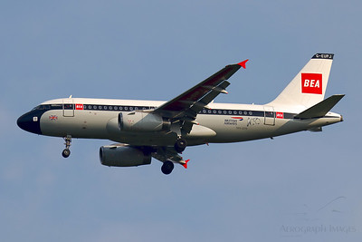 """Reg: G-EUPJ Operator: British Airways Type: Airbus A319-131  C/n: 1232  Location: Manchester (MAN / EGCC) - UK   """"Shuttle 2N"""" captured on finals to runway 05L, over the village of Mobberley in Cheshire.  The BEA retro-jet is back in service after a period of storage at Bournemouth during the COVID-19 pandemic     Photo Date: 14 August 2020 Photo ID: 20...."""