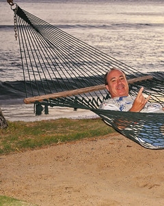 Me hagging loose in hammock sunset.