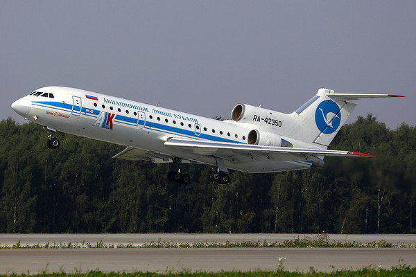 RA-42350 - Kuban Airlines, Yakolev Yak-42 (c/n 4520424711372)  ALK Yak-42 taking off from runway 14R at Moscow-Domodedovo, well illustrating the shallow climb-out profile of the Yak-42. 05 September 2008