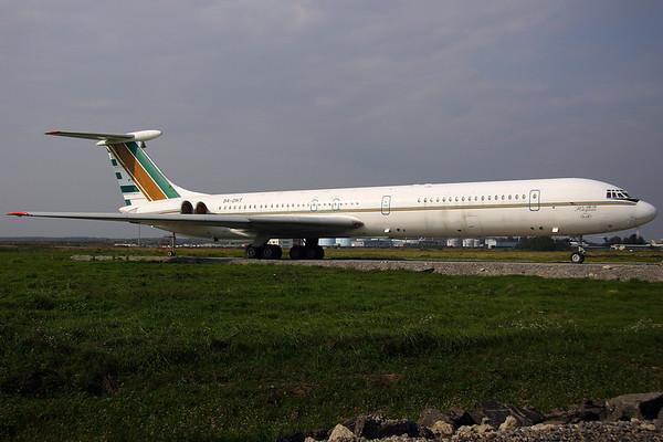 5A-DKT - Jetline International, Ilyushin IL-62M (c/n 4648414)  Withdrawn from use and parked on a hard stand in amongst the grass storage area at Moscow-Domodedovo. 06 September 2008