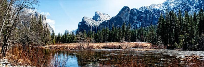 Yosemite Bridevail Falls and Valley Pano