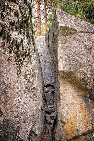 Boulder crack and lichen