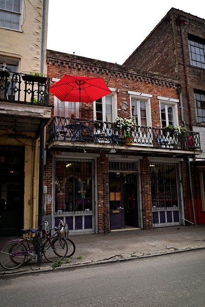Bikes Beads and red Umbrella New Orleans Style!