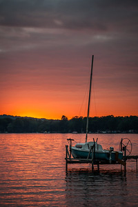 Lake Sunset and Sailboat