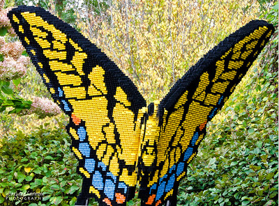"""Tiger Swallowtail"" 37,481 LEGO pieces; 62""x45""x44""  ""Some Assembly Required"" LEGO Brick Sculpture of artist Sean Kenney October 19, 2013 through January 5, 2014"