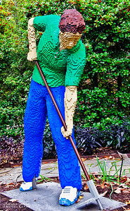 """Garden Worker"" 37,497 LEGO pieces; 51""x24.75""x65""  ""Some Assembly Required"" LEGO Brick Sculpture of artist Sean Kenney October 19, 2013 through January 5, 2014"