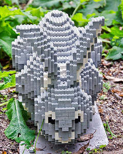 """Rabbit and Fox Rabbit: 1,361 LEGO pieces; 20.5""x17""x25""  Fox: 17,547 LEGO pieces; 59""x27""x25""  ""Some Assembly Required"" LEGO Brick Sculpture of artist Sean Kenney October 19, 2013 through January 5, 2014"