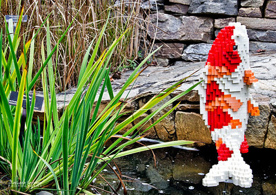 """Koi"" 1,937 LEGO pieces; 17""x14""x27""  ""Some Assembly Required"" LEGO Brick Sculpture of artist Sean Kenney October 19, 2013 through January 5, 2014"