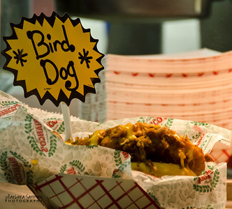 North Carolina Mountain State Fair ~ Fletcher, NC Bird Dog - Deep fried chicken on a hot dog bun.