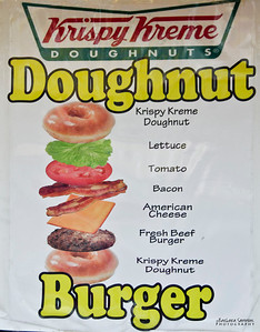 North Carolina Mountain State Fair ~ Fletcher, NC A Krispy Kreme Doughnut Burger?  Sounds too decadent.