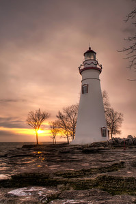 Winter Sunrise at Marblehead Lighthouse - Portrait