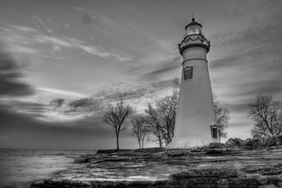 Marblehead Lighthouse in Black and White