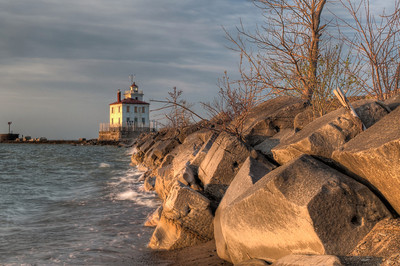 Lighthouse and Breakwall in Evening Light