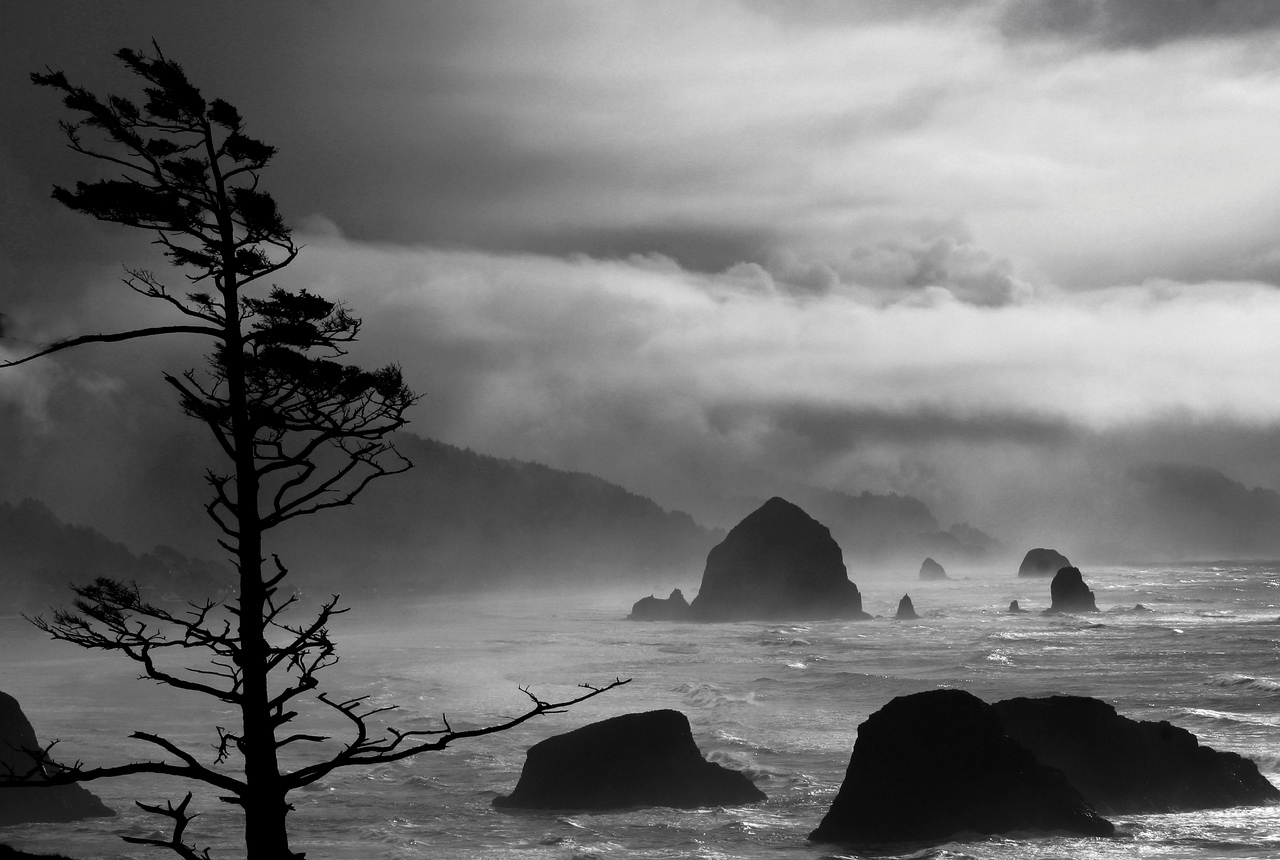 A stormy day over Cannon Beach looking from Ecola State Park, Oregon