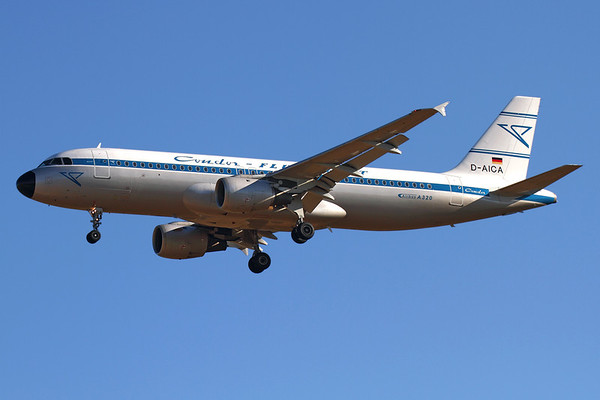 """Reg: D-AICA Operator: Condor Flugdienst Type:  Airbus A.320-212 C/n: 774 Location:  Palma de Mallorca - Son San Juan (PMI / LEPA), Spain   The Condor Retro A320 on short finals to runway 24L at Palma, arriving early morning as """"CFG316"""" from Berlin-SXF     Photo Date: 10 June 2013 Photo ID: 1300714"""