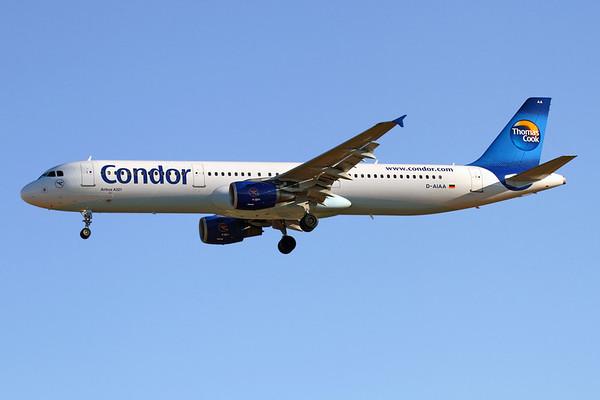 "Reg: D-AIAA Operator: Condor Flugdienst Type:  Airbus A.321-211 C/n: 1607 Location:  Palma de Mallorca - Son San Juan (PMI / LEPA), Spain   Condor's sole A321 on short finals to runway 24L at Palma, completing flight ""CFG104"" from Stuttgart     Photo Date: 10 June 2013 Photo ID: 1300715"