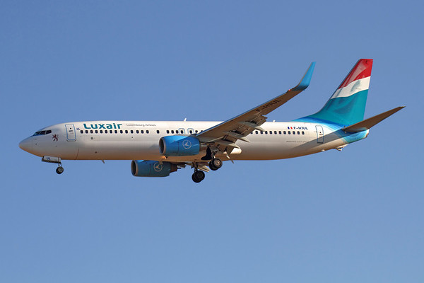 Reg: F-HJUL Operator: Luxair (XL Airways France) Type:  Boeing 737-8Q8/W		   C/n: 38819 / 3519 Location:  Palma de Mallorca - Son San Juan (PMI / LEPA), Spain   Landing runway 24L on an early morning servce from Luxembourg-Findel, leased from XL Airways France and sporting an unusual hybrid rear fuselage and tail colourscheme     Photo Date: 10 June 2013 Photo ID: 1300689