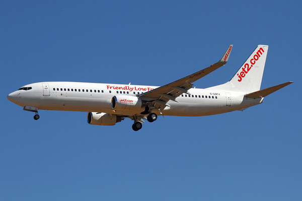 Reg: G-GDFV Operator: Jet2 Type:  Boeing 737-85F/W C/n: 28821 / 151 Location:  Palma de Mallorca - Son San Juan (PMI / LEPA), Spain   Former Euralair and Air Berlin 737 landing on runway 24L from Manchester, having only transferred to the low-cost airline earlier this month.     Photo Date: 10 June 2013 Photo ID: 1300729