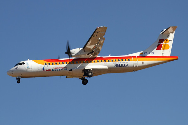 Reg: EC-LRU Operator: Iberia Regional (Air Nostrum) Type:  Avions de Transport Regional ATR-72-600		   C/n: 1032 Location:  Palma de Mallorca - Son San Juan (PMI / LEPA), Spain        Photo Date: 10 June 2013 Photo ID: 1300686