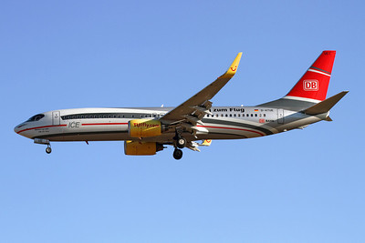"""Reg: D-ATUE Operator: TUIfly Type:  Boeing 737-8K5/W C/n: 34686 / 1903 Location:  Palma de Mallorca - Son San Juan (PMI / LEPA), Spain   TUI Fly's special """"DB Air One"""" on short finals to 24L at Palma de Mallorca, which was closely followed by """"DB Air Two""""     Photo Date: 10 June 2013 Photo ID: 1300690"""