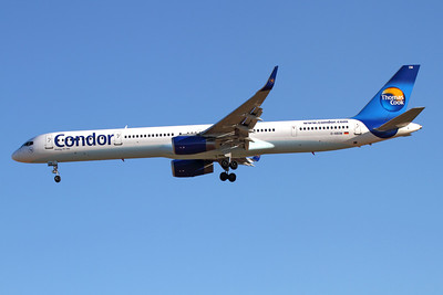 Reg: D-ABOM Operator: Condor Flugdienst Type:  Boeing 757-330/W C/n: 29022 / 926 Location:  Palma de Mallorca - Son San Juan (PMI / LEPA), Spain   Condor 096 on short finals to runway 24L early on a glorious Balearic day, bringing another load of holiday makers from Munich to Mallorca     Photo Date: 10 June 2013 Photo ID: 1300716