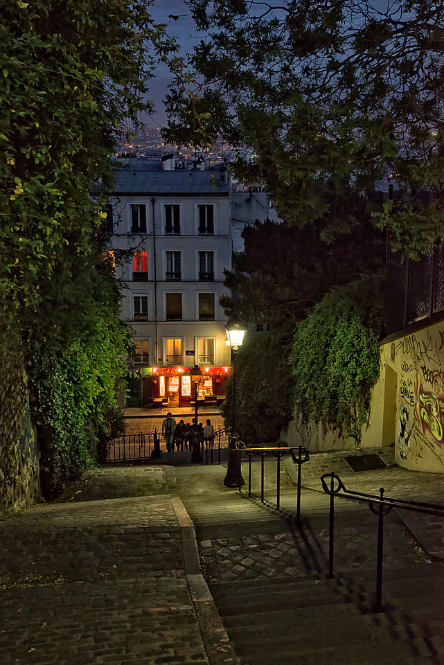 Montmartre neighborhood night stairs