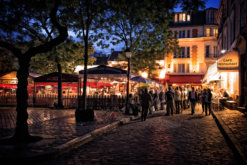 Montmartre square night scene