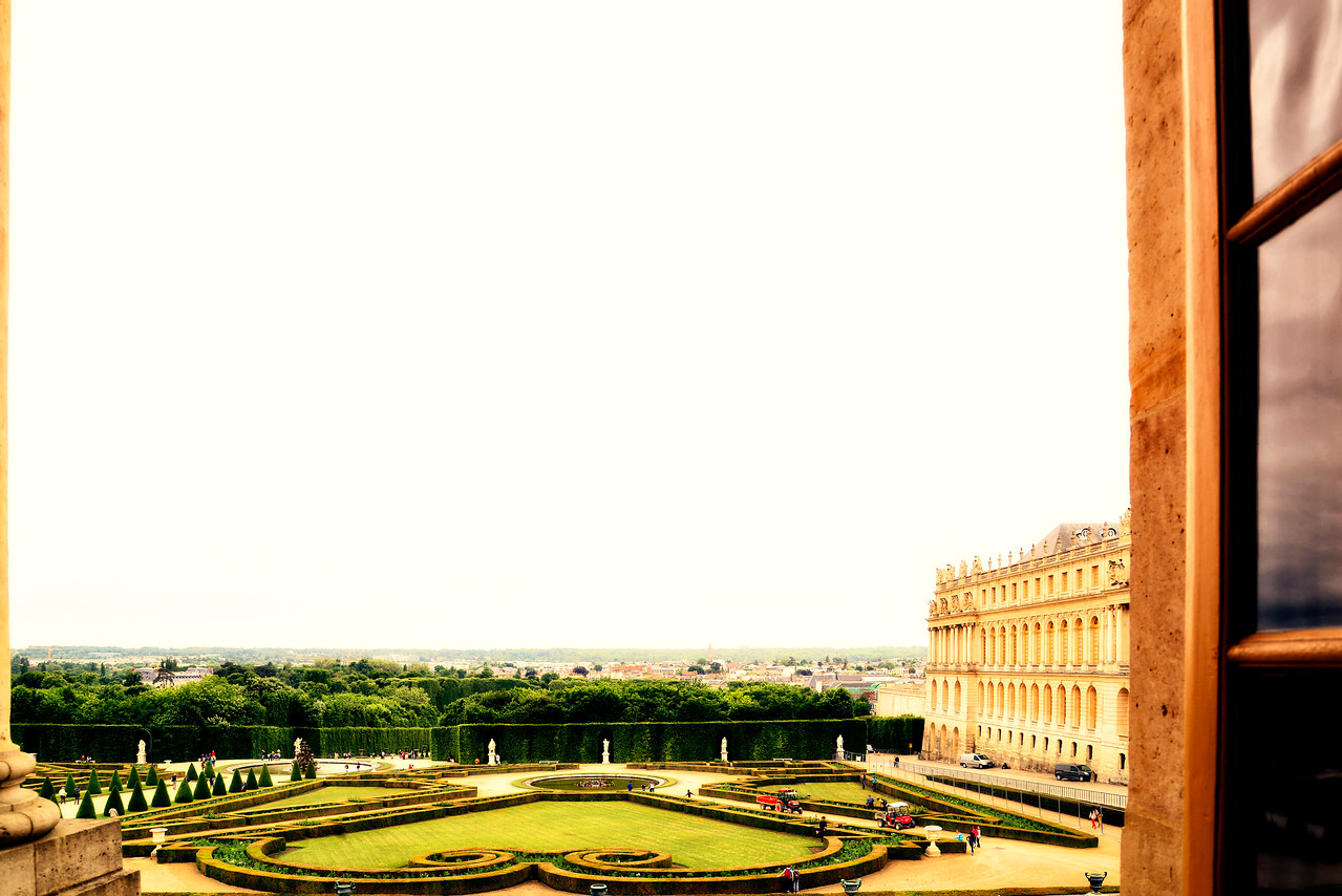 Window view from Palace Chateau De Versailles