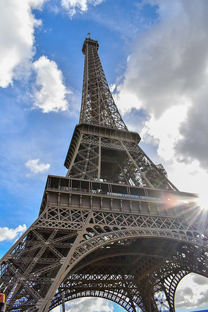 Eiffel Tower or Tour Eiffel and sunbeams