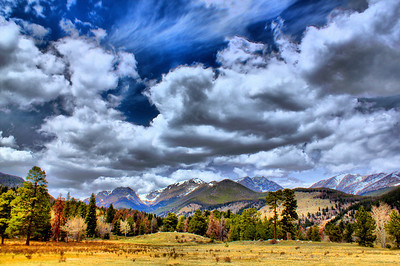 Had a chance to visit Rocky Mountain National Park prior to the busy season, April of 2012, while on a business trip.  I had about an hour before a meeting in Estes Park, so I gave myself 30 minutes in, 30 minutes out and took this shot focusing on the amazing sky!