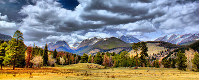 Had a chance to visit Rocky Mountain National Park prior to the busy season, April of 2012, while on a business trip.  I had about an hour before a meeting in Estes Park, so I gave myself 30 minutes in, 30 minutes out and took this shot focusing on the amazing sky!  This shot made for a great panoramic.