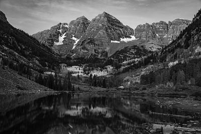 Blue Hour over Maroon Peaks (B&W)