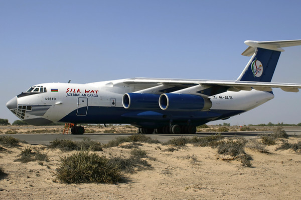Reg: 	4K-AZ19			Location: Sharjah (SHJ/OMSJ) Operator:	Silk Way Airlines		Country:  United Arab Emirates Type:	Ilyushin IL-76MD	         C/n:	0053460820 / 46-05